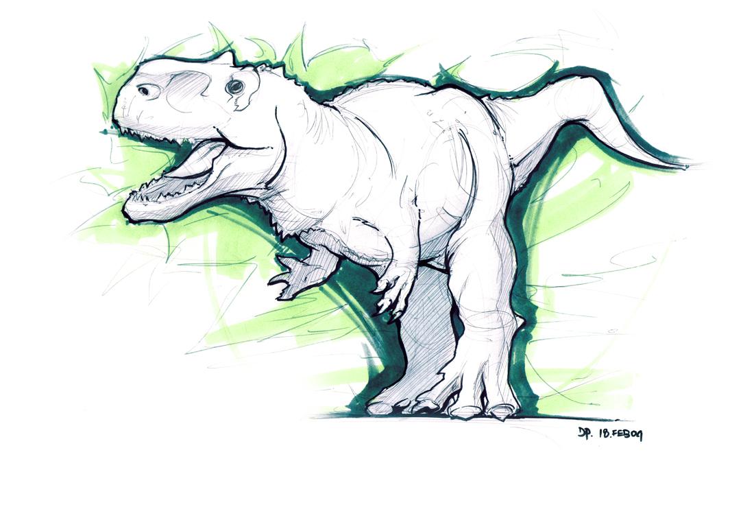 T rex cartoon drawing