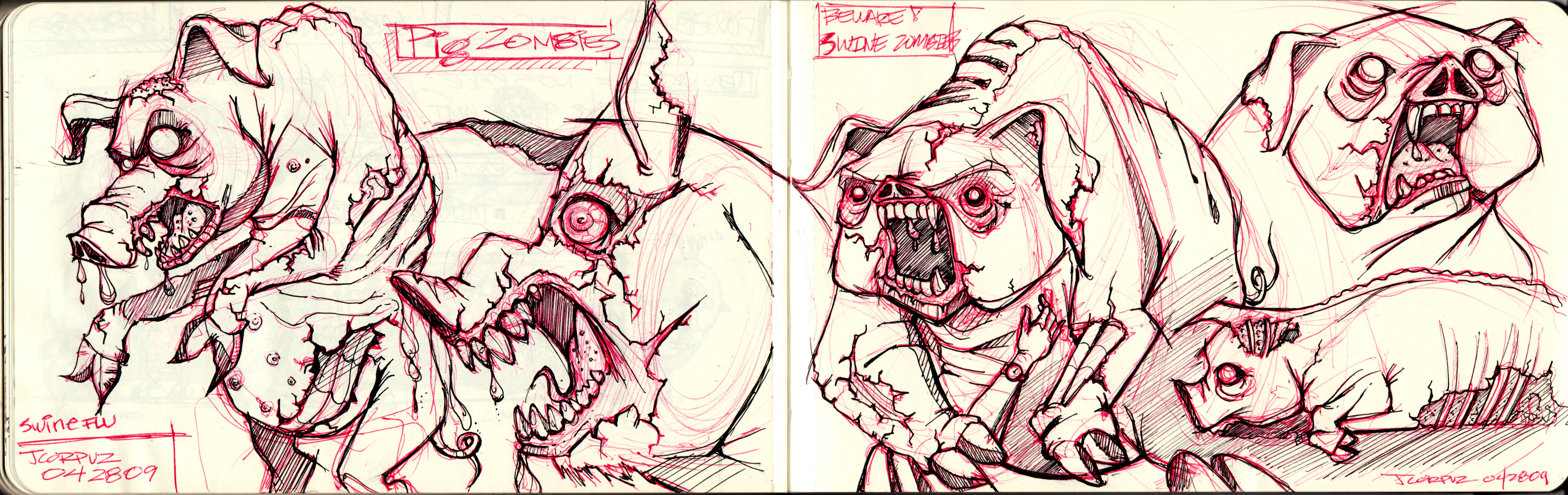 Pig Face Line Drawing : Pigzombies red n black web