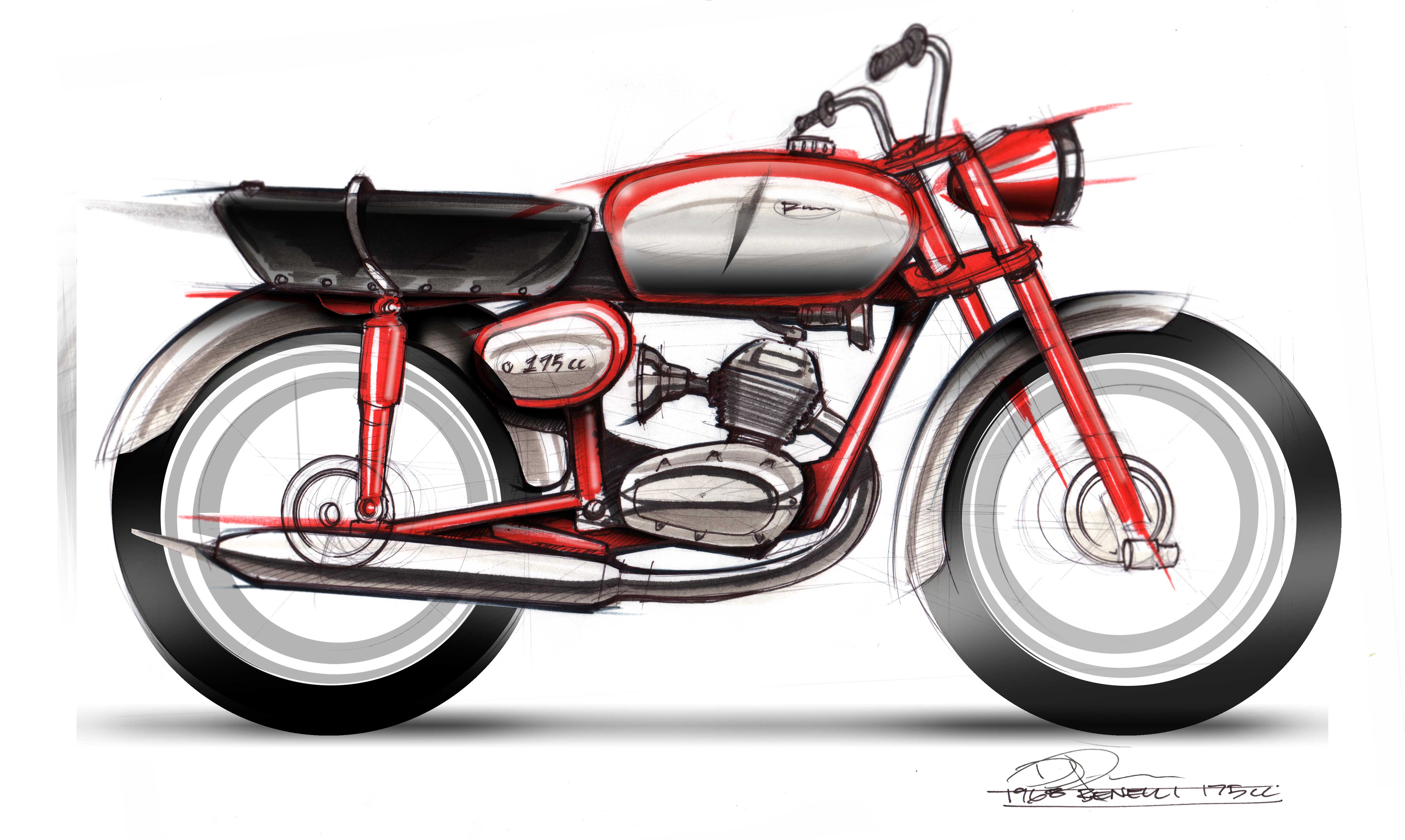 Motorcycle Sketch Demo 1968 Benelli 175cc Lineweights